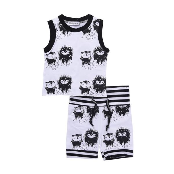 Baby Boys Hedgehog Clothes Vest +Shorts 2pcs Set Animals Black White Outfits Tracksuit Summer Striped Comfy Kids Clothing Toddler