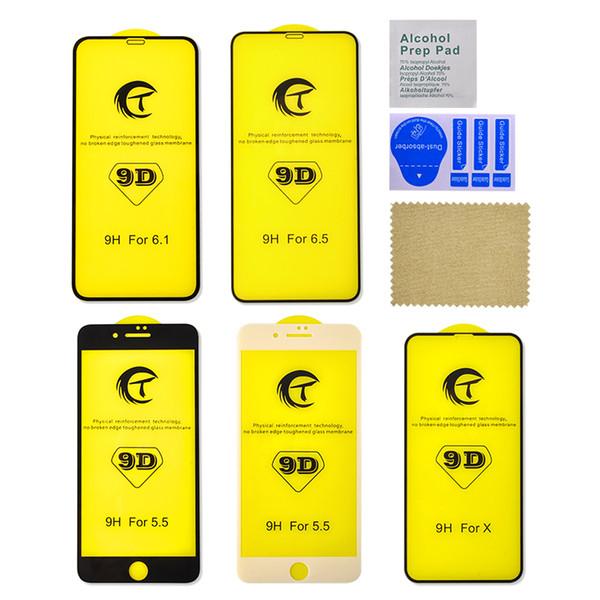Für iphone xs max xr x 7 8 plus 9d klar gekrümmte gehärtetem glas displayschutzfolie schutz voll kleber abdeckfolie 6 6s