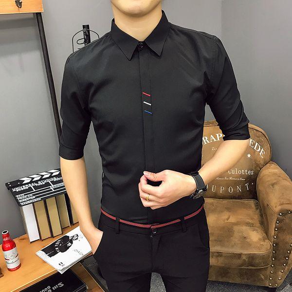 Мужская новая летняя пятиточечная черная рубашка с короткими рукавами, модальная без пота, удобная и близкая