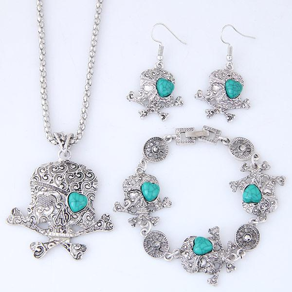 Vintage Retro Fashion Accessories Jewelry Sets Turquoise Dreamcatcher Heart Skull Skeleton Dangle Earrings Chokers Necklaces Bracelets Women