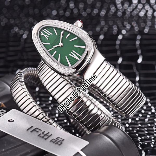 New Serpenti Tubogas 101910 SP35C6SDS.2T Steel Case Diamond Bezel Green Dial Swiss Quartz Womens Watch Ladies Watches Cheap BV08b2