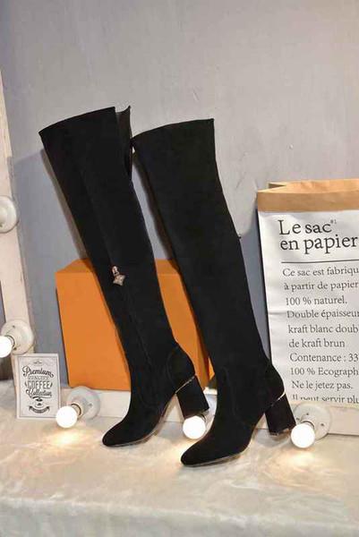 [Original Box] Luxury New Womens Thigh-High Winter Snow Knee Boots Stretch fleece Motorcycle Knight High Heel 75MM Sheepskin Suede Black