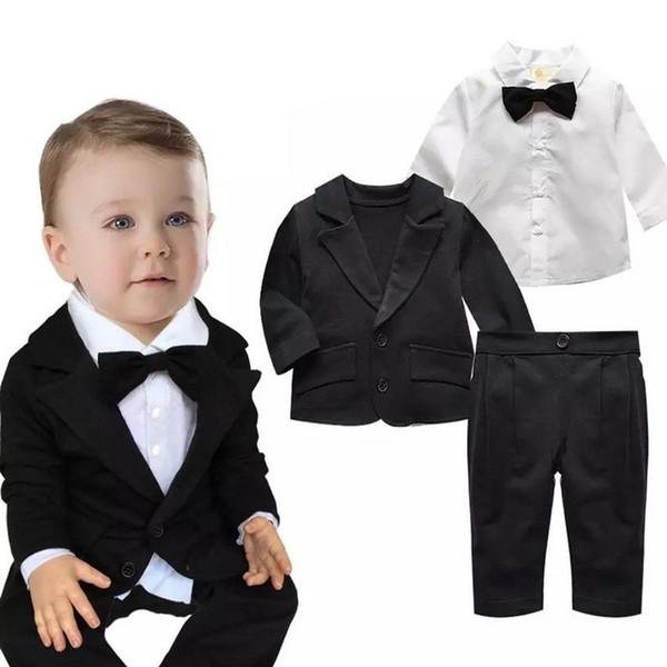 아기 소년 유아 긴 소매 가을 옷 코트 + 바지 + 티셔츠 3 개 정장 신생아 파티 정장 웨딩 코튼 의류