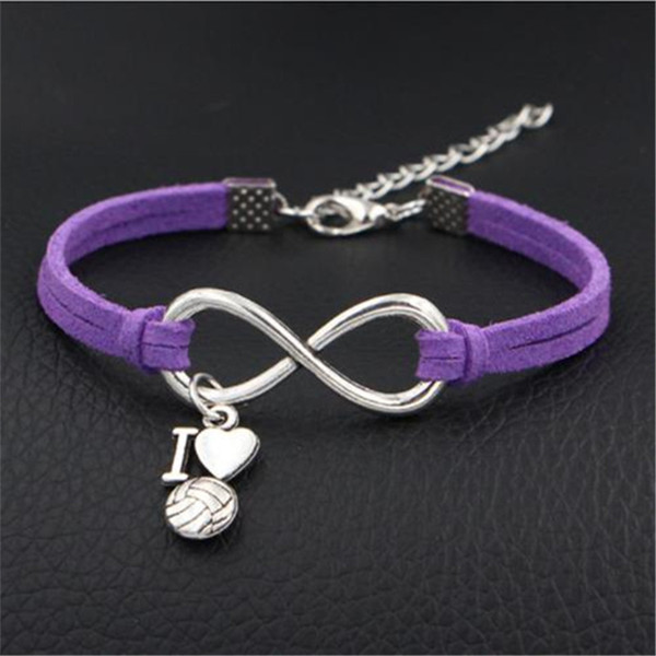 Fashion Purple Leather Suede Jewelry Multilayer Silver Infinity I Love Volleyball heart Bracelet Bangles Women Men Mother's Christmas Day