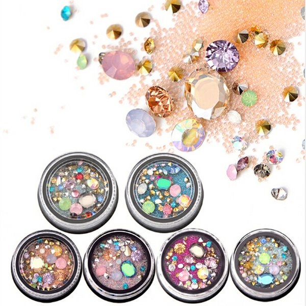 3D Nail Art Decoration In Wheel Accessories Nail Rhinestone Glitter Metal Beads Acrylic Tips Manicure Decoration
