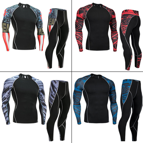 2019 NEW Mens Compression Set Running Tights Allenamento Fitness Training Tuta Maglie a manica lunga Tuta sportiva rash guard kit 4XL