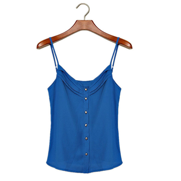 Summer Women V NeckTank Vest Candy Spaghetti Shirt Chiffon Blouse Strap Hot Top Camis Hot sale CL639