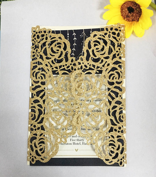 50X Free Shipping Gold/ Silver/Black/Rose gold Thick Glitter Paper Hollow Laser Cut Vintage Vine Wedding Invitations Card Cover