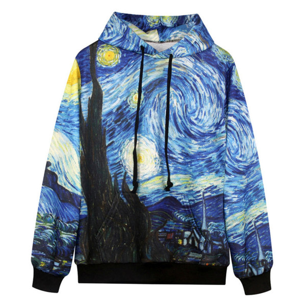 Cool Sweatshirt Men/Women Hooded 3d Print Van Gogh Oil Painting Hoody New Fashion Hoodies Leisure Couple Vacation Pullover