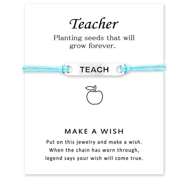 New Silver Teach Apple Charm Bracelets Adjustable Friendship Statement Bracelet For Women Men Gift With Card Best Gift For Teacher 20Pcs/Lot