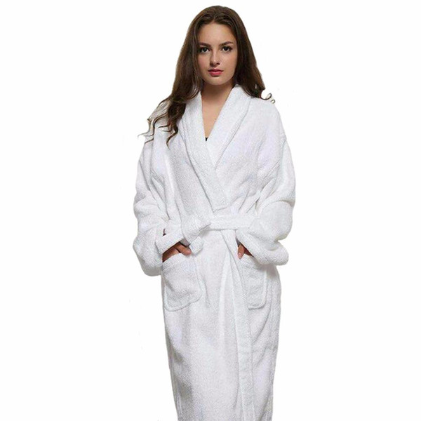 Wholesale- Casual Women And Men White Long Robes White Cotton Twist Towel Bathrobe Dressing Gown Bath Robe Unisex Winter Warm Dressing Gown