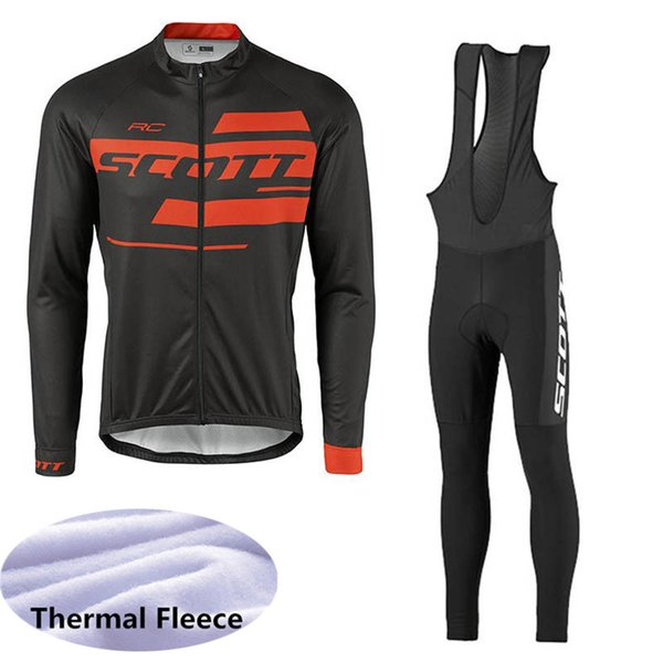 SCOTT team mens Winter Thermal Fleece Cycling Long sleeve jersey bib pants sets Ropa de ciclismo Outdoors Sports Biking clothes Q61070