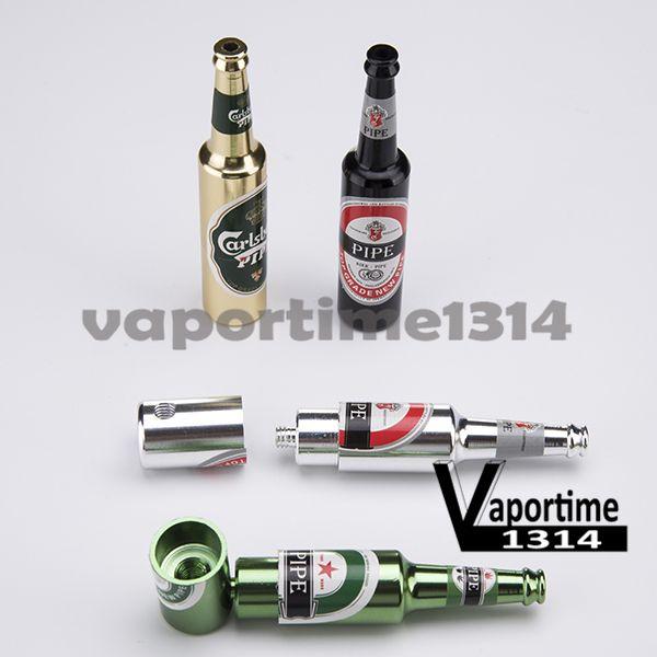 Beer Bottle Metal Smoking Hand Pipe Small & Large Mini Tobacco Oil Burner Smoke Filter Hammer Pipes Portable Oil Burner Smoking Herb 394