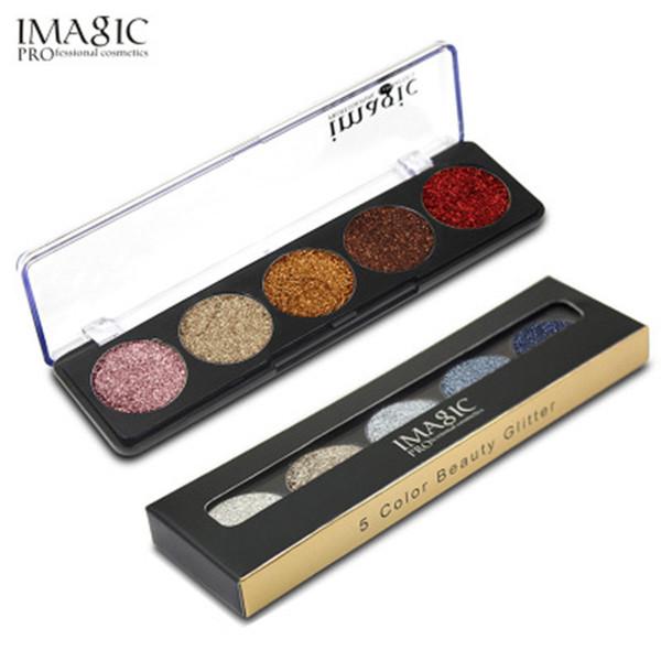 Maquillaje de moda Paleta de sombras de ojos Profesión Comestic Nueva marca IMAGIC Maquillaje 5 colores Brillo Sombra de ojos en polvo