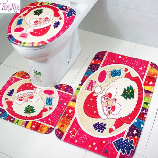 FENGRISE 2019 Año Nuevo Vestido de Navidad Inodoro Pie Pad Cubierta de Asiento Cuarto de Baño Tapa del Radiador 3 UNIDS Conjunto de Fibra de Poliéster decoración del hogar