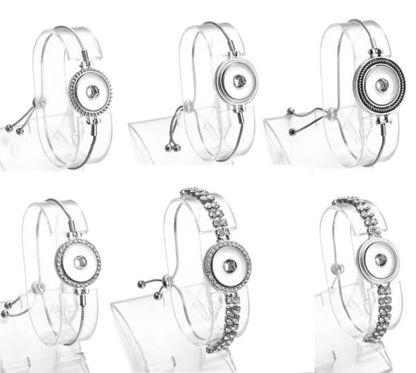 Noosa Chunks Métal Gingembre 18mm Snap Boutons Bracelet Longueur Réglable Griffe Prong Cadre Rhinstone Bracelet 6 Styles Mix