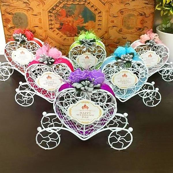 Wholesale-Metal Cute Cinderella Carriage Candy Chocolate Boxes Birthday Wedding Party Favour Decoration J2Y