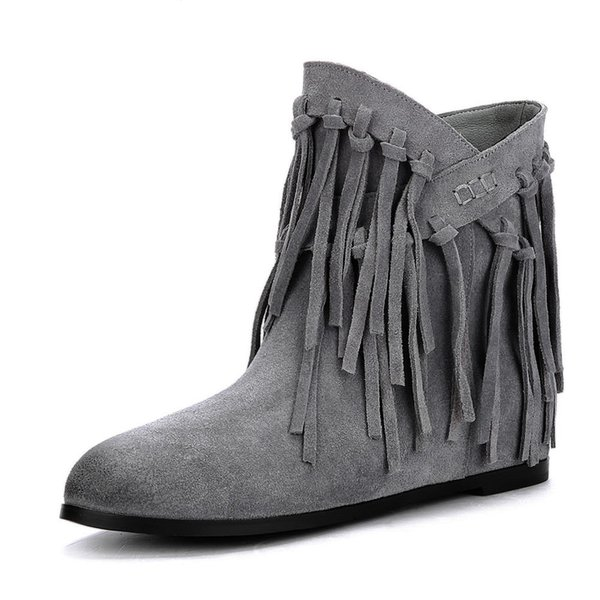 2018 Cow Suede Large Size 34-43 Dropship Hot Sale Fringe Slip On Wedge Heels Ankle Boots Woman Woman Boots