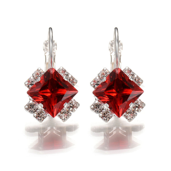 1962353ec Geometric Square Austrian Crystal Hoop Earrings Vintage Silver Statement  Earrings For Women Cheap Small Boho Brincos 2018