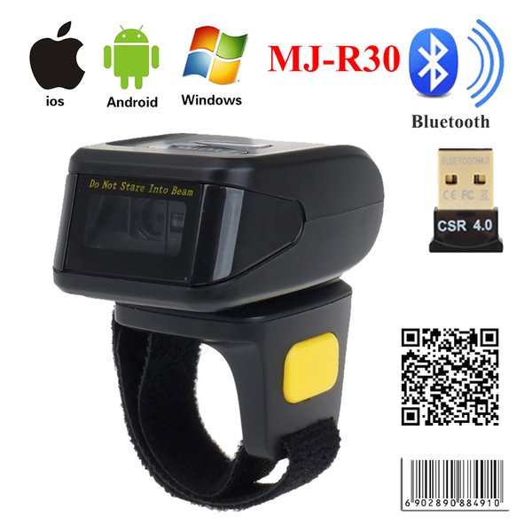 best selling MJ-R30 Mini Bluetooth Portable Ring 2D Scanner Barcode Reader For Android Windows PDF417 DM QR Code 2D Wireless Scanner