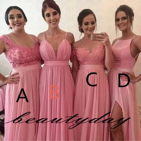 Barato 2019 Vestidos de Dama de honra coral Chiffon Lace Mixed Maid Of Honor Vestidos Formal Side Dividir Convidado Do Casamento Vestido A Linha Médio Oriente