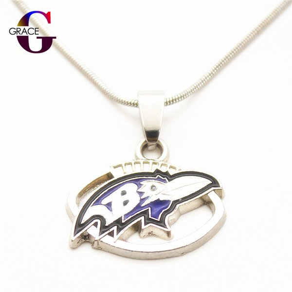 10pcs Hot Sale Enamel Football Team Sports Pendant necklace with Snake Chain(45+5cm) Necklace For Women DIY Jewelry