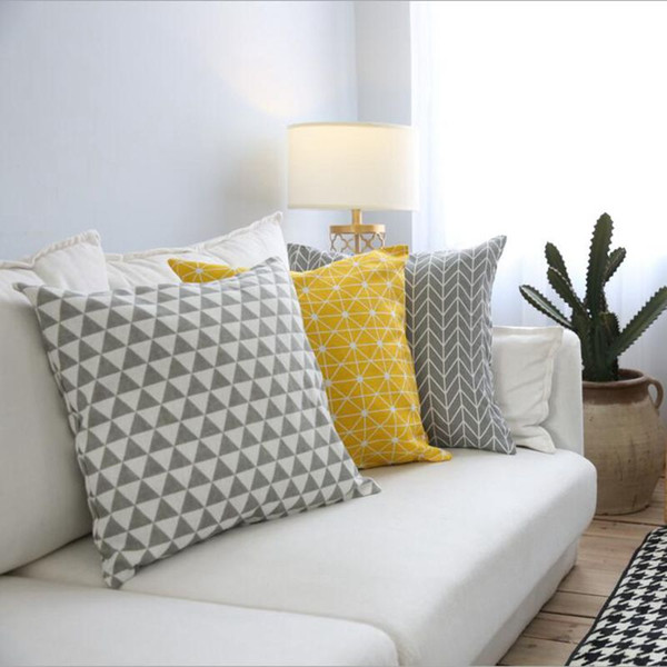 Astonishing Yellow Cushion Cover Geometric Sofa Chaise Throw Pillow Case 60Cm Almofada Funda Cojines Modern Grey Home Decor Blue Patio Chair Cushions Sunbrella Gmtry Best Dining Table And Chair Ideas Images Gmtryco