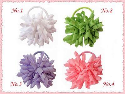 "12pcs 3.5"" whirl korker ponytail hair ties holders streamer corker hair bows clip Cheer Bows tassel Curly Ribbon Bow hair bobbles PD006"
