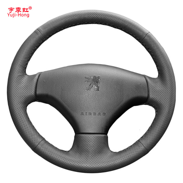 Yuji-Hong Artificial Leather Car Steering Wheel Covers Case for Peugeot 206 207 Hand-stitched Wheel Cover