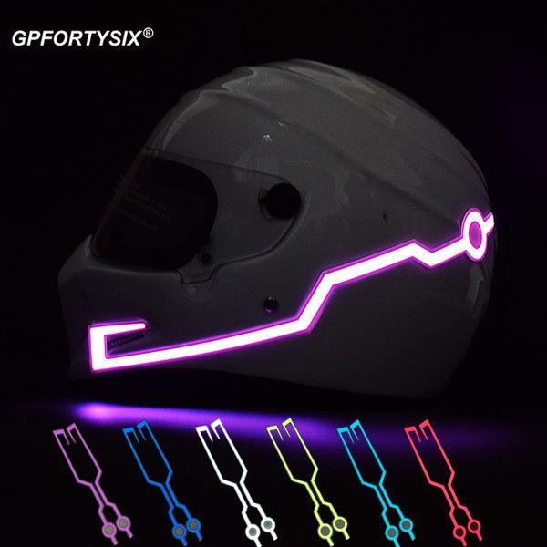Großhandel Motorradhelm Licht Streifen Nacht Signal Leuchtende Licht Mode Modifizierte Glowing Bar Nachtfahrt Motorrad Helm Led Aufkleber Von