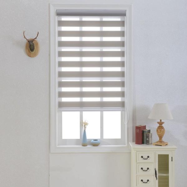 Зебра жалюзи полупрозрачные рулонные шторы оттенки двойной слой на заказ размер шторы серый для гостиной