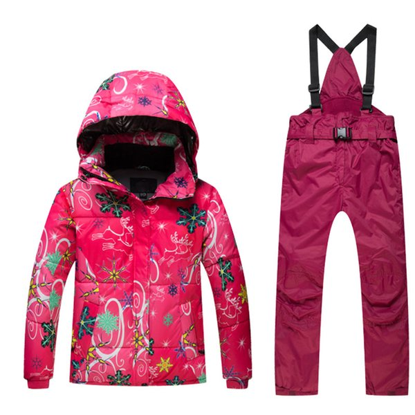 Outdoor High Quality Kids Ski Suit Children Windproof Waterproof Colorful Girls for Boy Snowboard Snow Jacket and Pants Winter Dress
