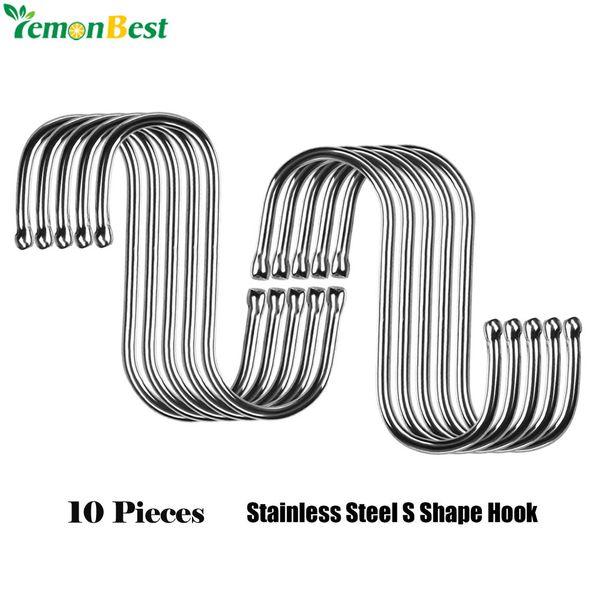 10Pcs Stainless Steel Practical Hooks S Shape Kitchen Railing S Hanger Hook Clasp Holder Hooks For Hanging Clothes Handbag Hook