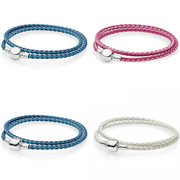 Moment Double Woven Leather Ball & Barrel Clasp Bracelets Fit Snake Bangle 925 Sterling Silver Bead Charm Jewelry