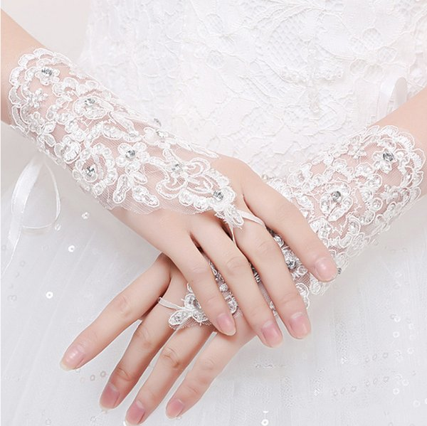 Free shipping White Red Bridal Gloves elbow length beaded lace appliques Wedding Gloves Lace No finger Hot Sell Hot Sale