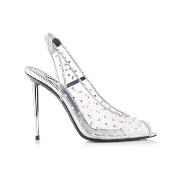 Famous Design Shoes Women Clear Sandals Crystal Scattered Spikes Heels Peep Toe High Heels Slingback Stilettos Dress Lady