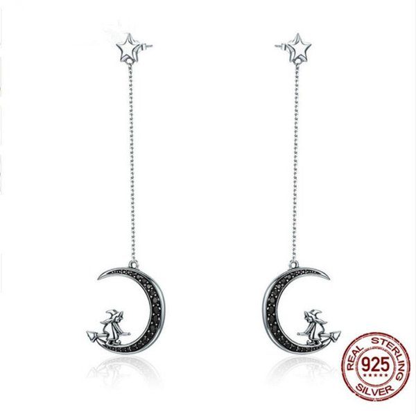 Real 925 Sterling Silver Magic Witch in Moon Star Black CZ Long Drop Earrings for Women Sterling Silver Jewelry
