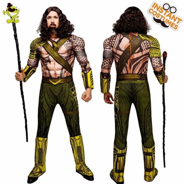 QLQ Halloween Party Aquaman Costume Cosplay King Jumpsuit Role Play Muscle Aquaman Costumes For Adult Men's