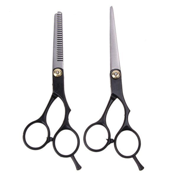 2 unids tijeras de corte plano salón peluquero profesional tijeras de corte de pelo adelgazamiento pelo tijeras de peluquería conjunto herramientas de peluquería