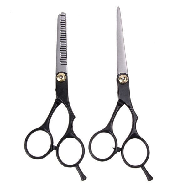 2pcs Flat cutting scissors Salon Professional Barber Hair Cutting Thinning Scissors Hair Barber Shears Set Hairdresser Tools