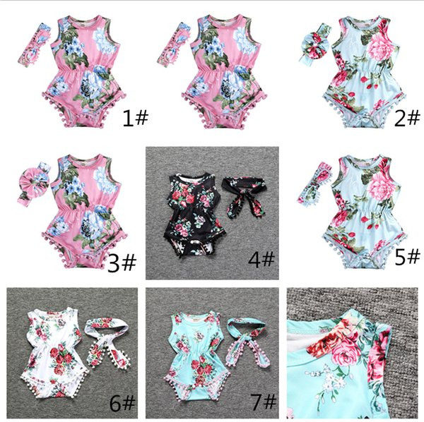 Newborn girl clothes summer flower romper jumpsuit onesies With Headband kid clothing boutique outfits babies girls toddler 0-24M LC824