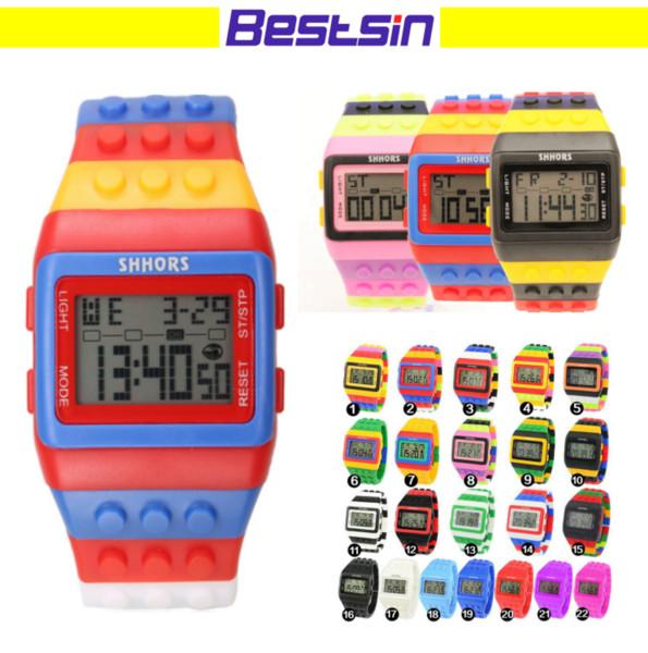 Bestsin Shhors Digital LED Watch Arcobaleno classico colorato Stripe Moda unisex Orologi Buono per il nuoto Bel regalo per Kid DHL libero
