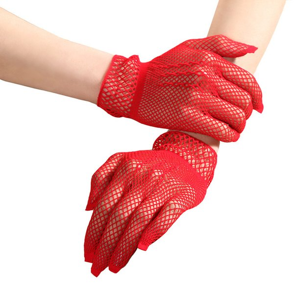 1 Pair Black White Red Sexy Girls Hollow Fishnet Gloves Summer Full Finger Gloves Punk Goth Lady Disco Dance Costume Mesh
