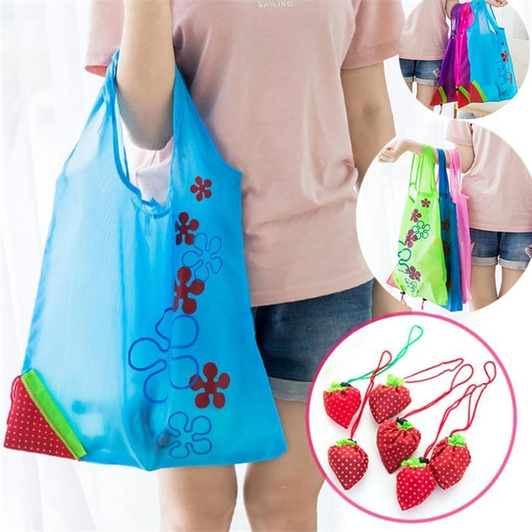 Newest Strawberry Foldable bag Reusable Eco-Friendly Shopping Bags Pouch Storage Handbag Strawberry Foldable Folding Tote Storage Bag D0030