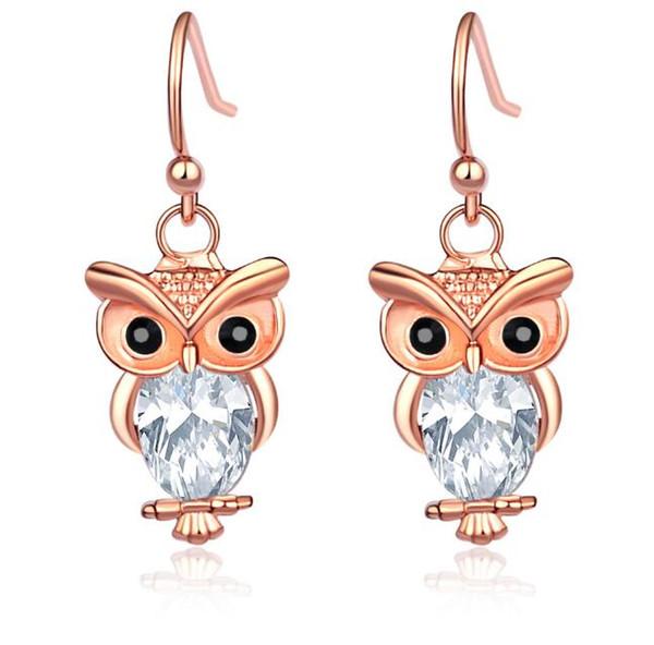 2019 Owl Rose gold Zircon Crystal 925 Silver Fish Hooks New Earrings Dangles Chandelier Jewelry Hot sell Items