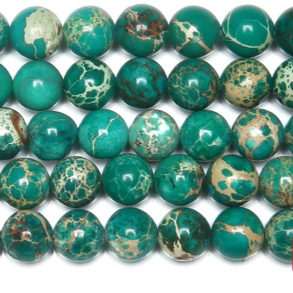8mm Natural Stone Green Sea Sediment Turquoises Imperial Jaspers Round Loose Beads 6 8 10 12MM Pick Size