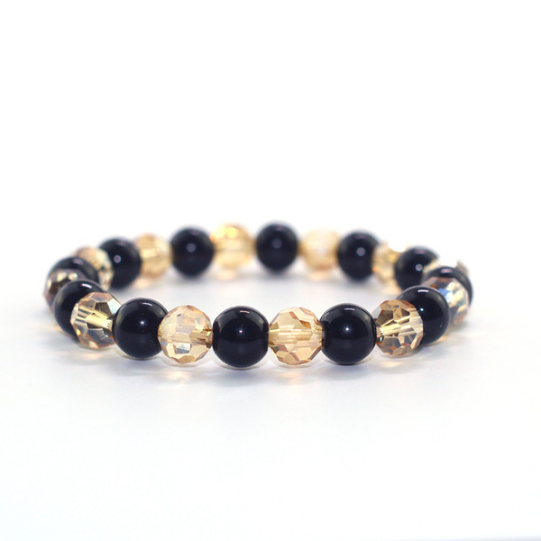 Natural Obsidian X Yellow Crystal 8 mm Beads Unisex Bracelet Boys Girls Women Men Souvenir Birthday Gift