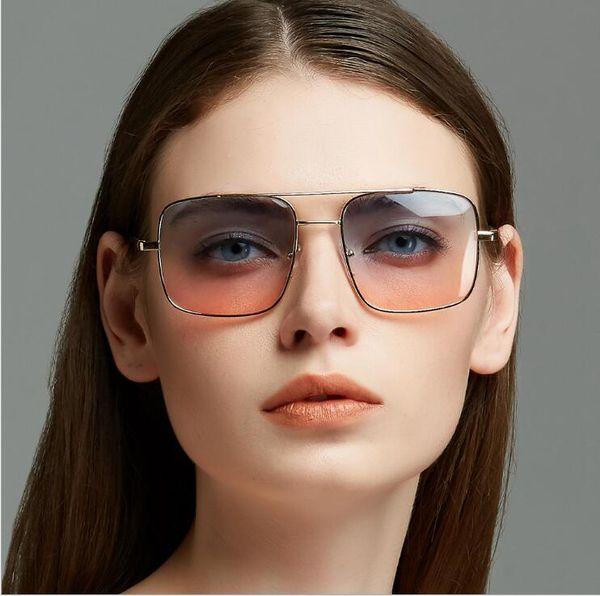 Big box two-color retro sunglasses double beam ocean piece square sunglasses metal spring legs sunglasses TYJ020