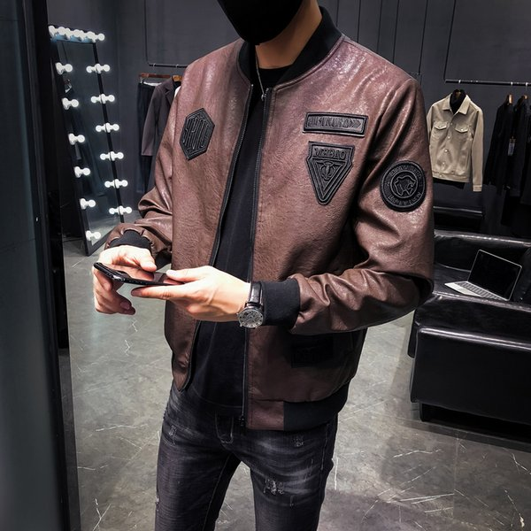 2018 autumn new locomotive suit Slim cool temperament Korean version of handsome jacket Hong Kong style short leather men