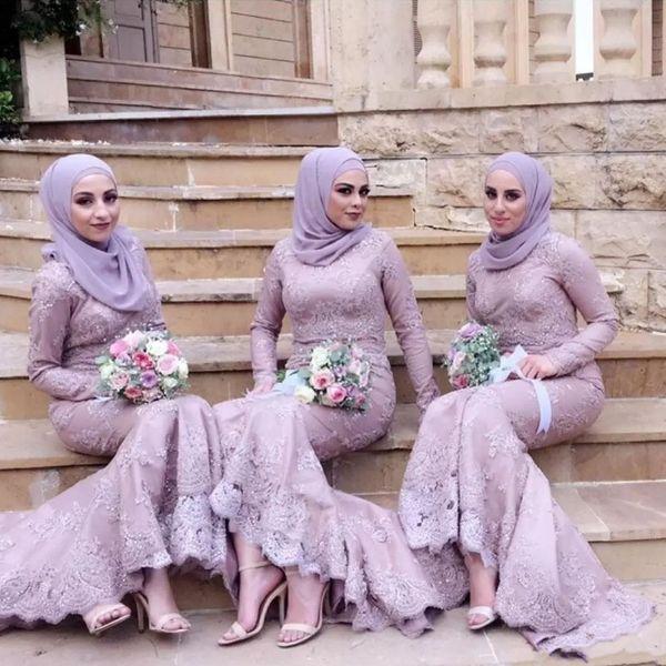 Elegant Arabic Muslim Bridesmaid Dress With Hijab Long Sleeves Hi-Lo Mermaid 2018 Prom Dresses Glamorous Beads Lace Applique Bridesmaid Dres